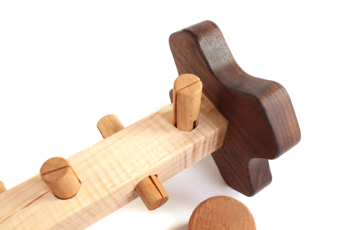 natural solid wood hammer and workbench pounding toy