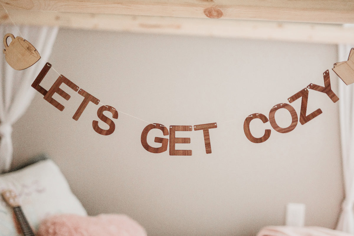 Let's Get Cozy unique wooden wall decor bunting banner garland Smiling Tree Toys