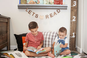 wooden Let's Read sign for book nooks and reading corners