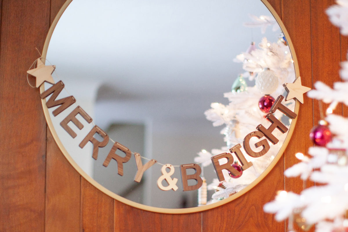 Merry & Bright Holiday Decor Wooden Banner Bunting Christmas Decoration