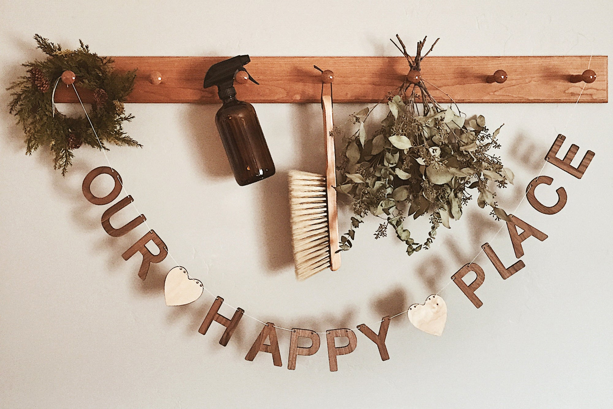 Our Happy Place wooden wall sign decor