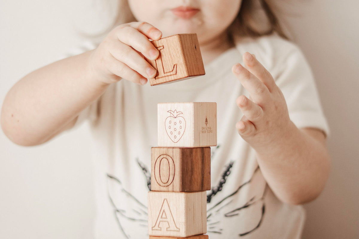 Picture Alphabet Blocks wood block set Smiling Tree Toys