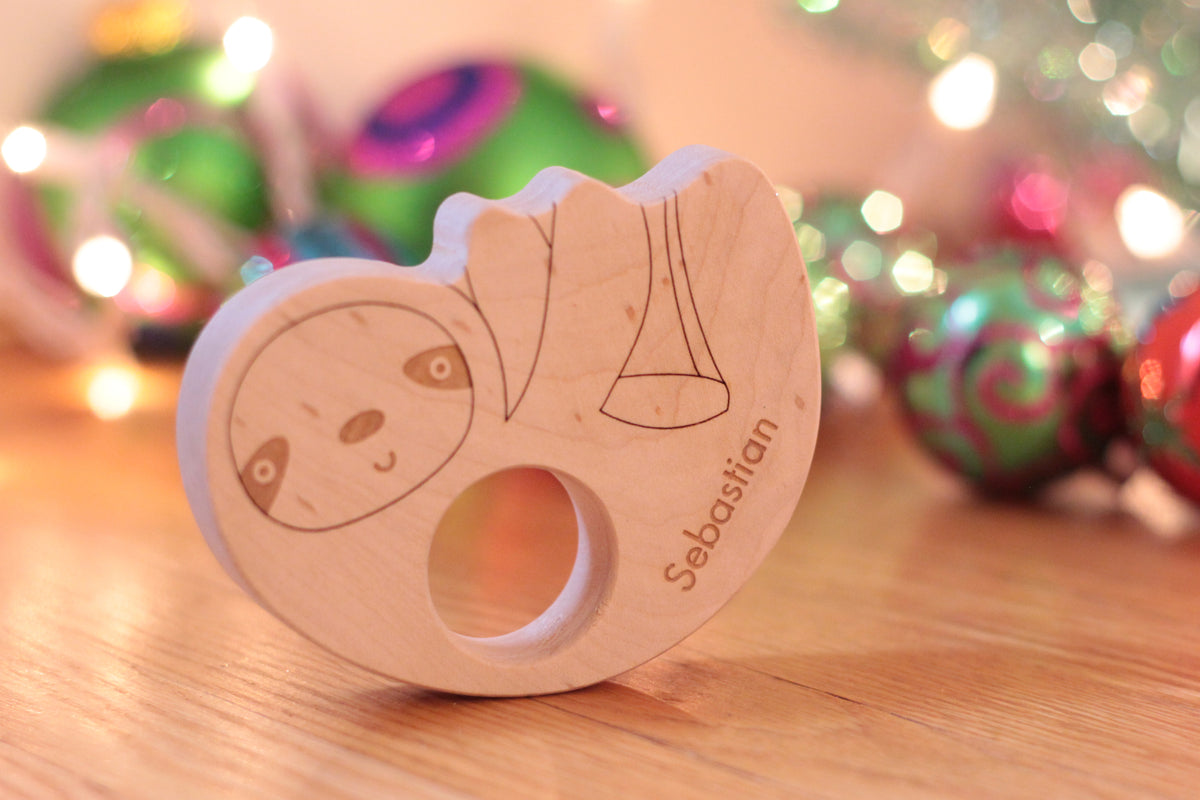 sloth wood teether