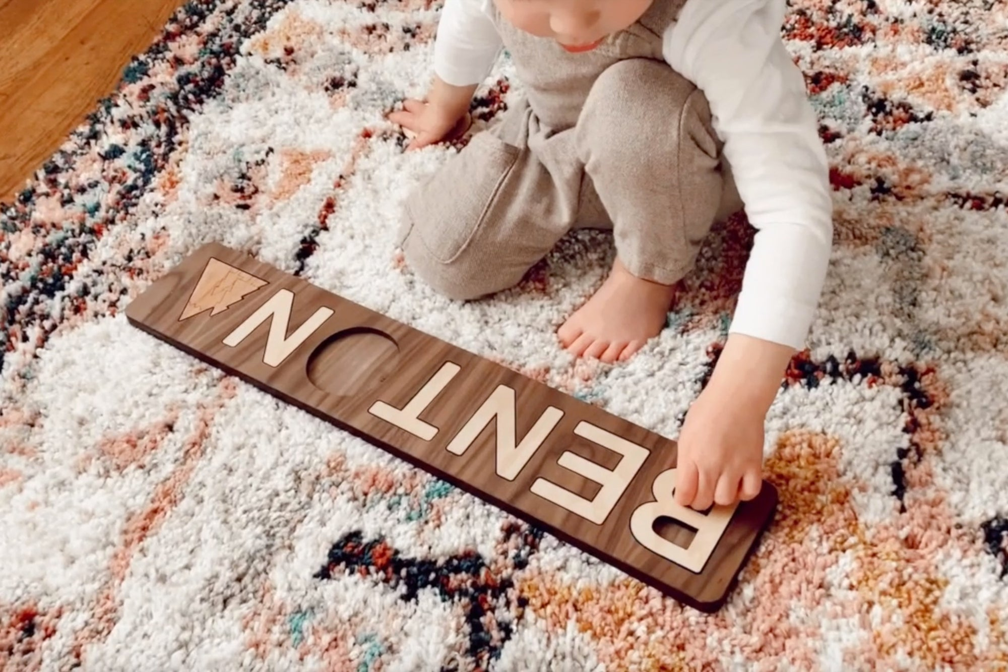 natural wooden name puzzle made in the USA Smiling Tree Toys