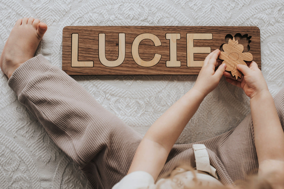 custom wooden name puzzle for kids by Smiling Tree Toys