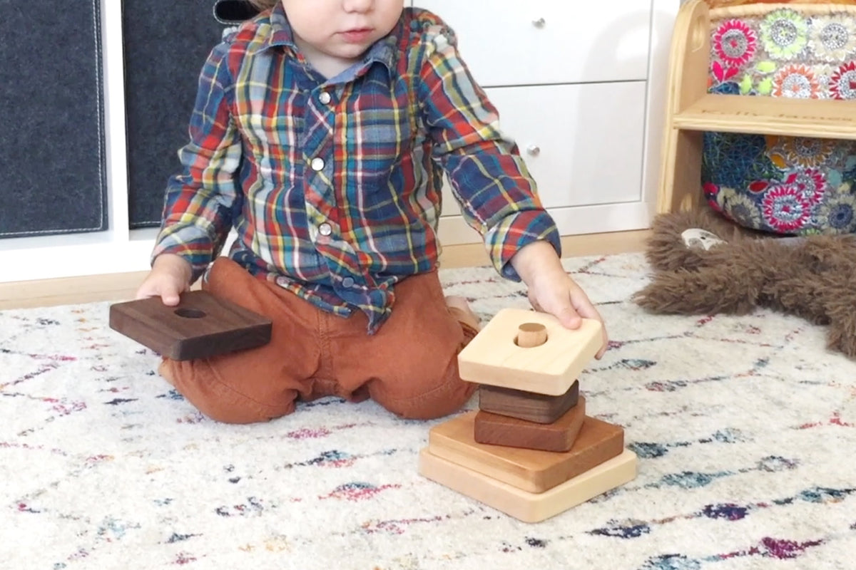 Square Stacker handmade wooden stacking toy educational gift for toddlers