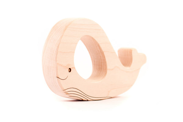 personalized whale wooden teething toy
