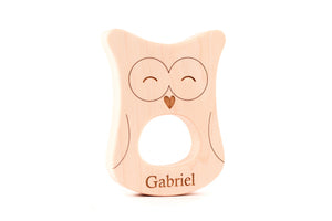 personalized owl wooden teether toy