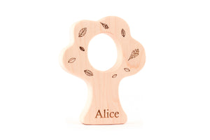 personalized maple tree wood teether