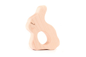 handmade bunny wood teether toy