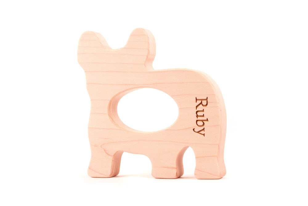 French bulldog personalized wood teether