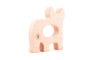 Frenchie wooden teething toy