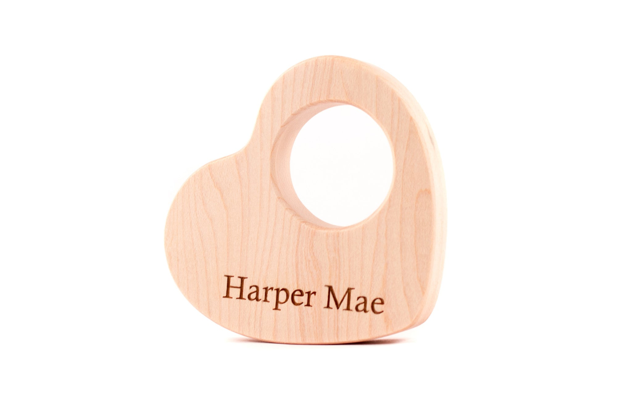 personalized heart wooden baby teether toy