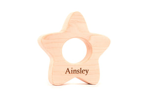 personalized star wooden baby teething toy