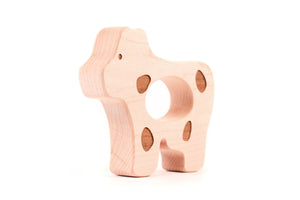 handmade spotted cow wood teether