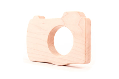 handmade camera wooden teething toy