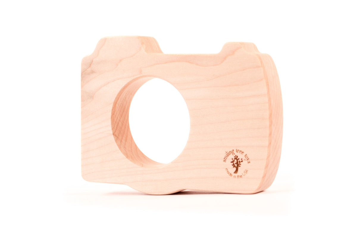 all natural camera wooden teether