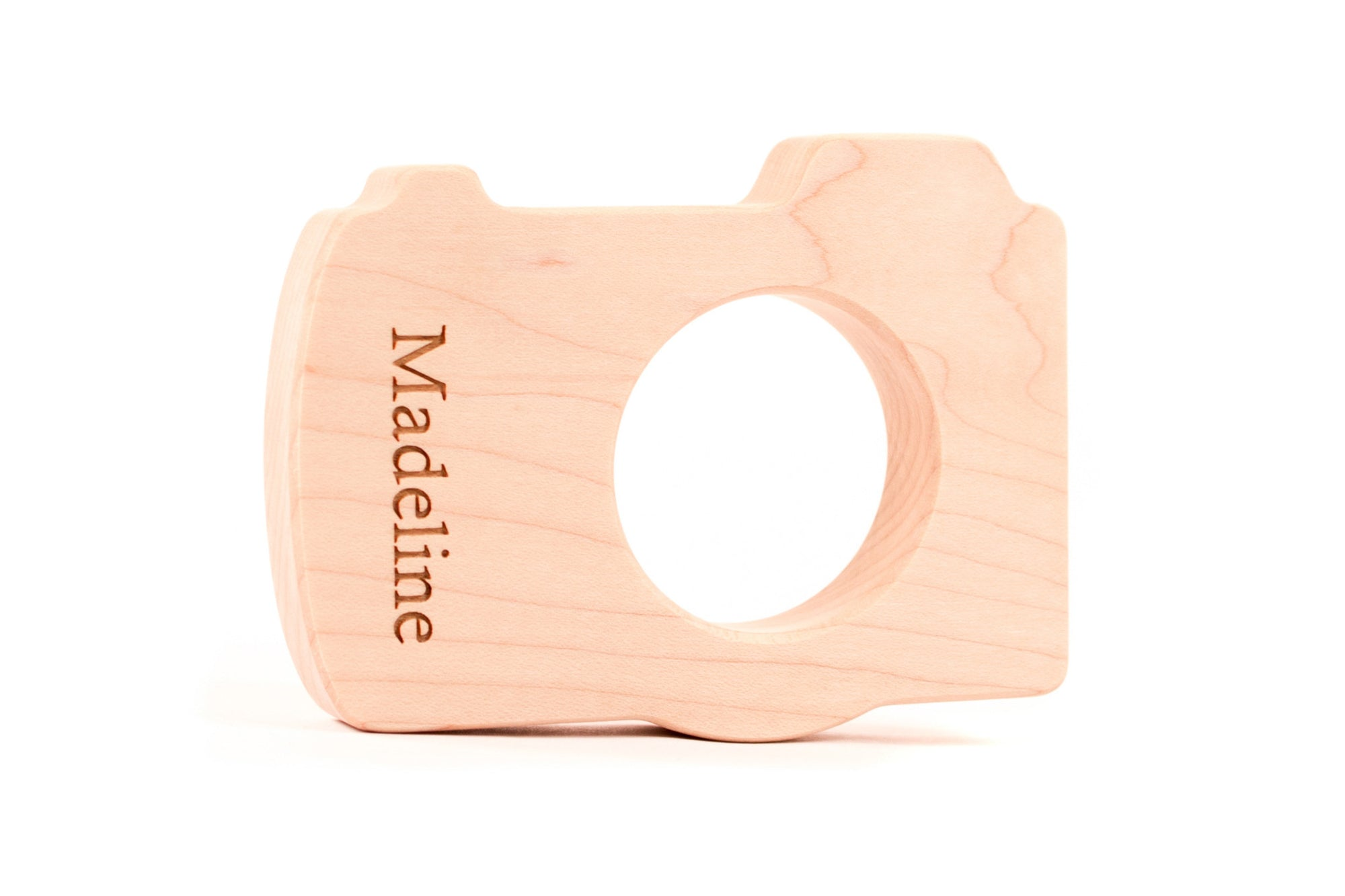 personalized camera wooden baby teether toy