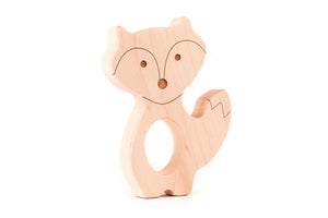 handmade fox wood teether by Smiling Tree Toys