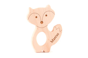 personalized fox wooden baby teething toy