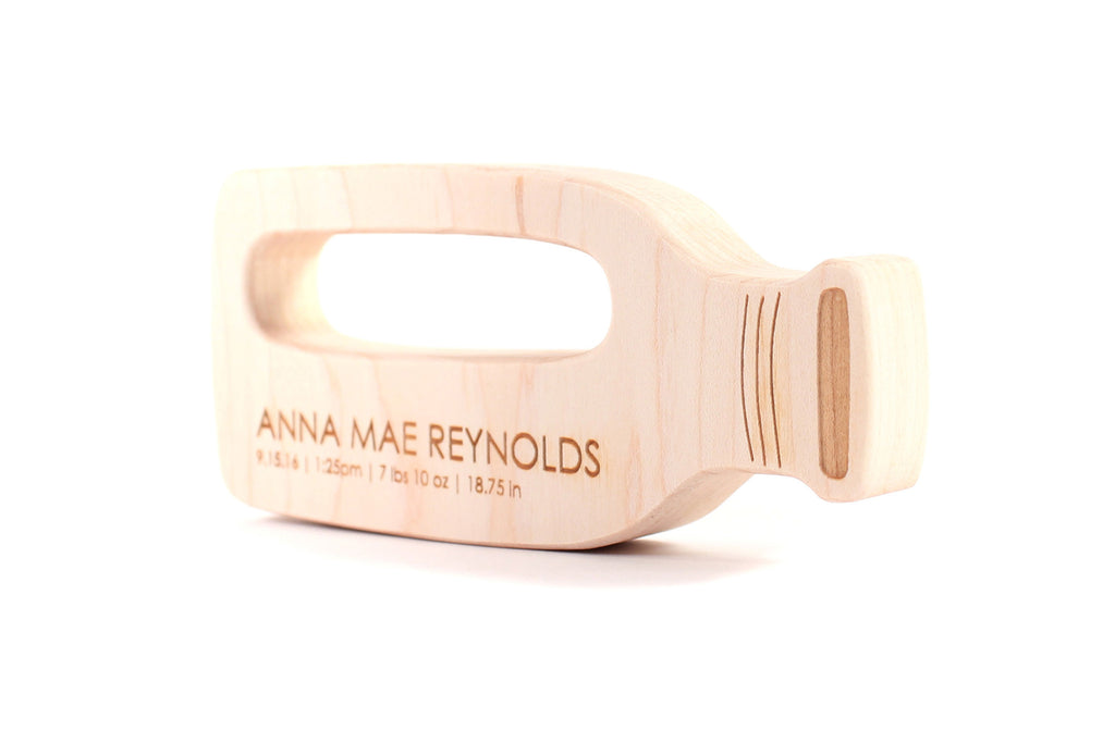 personalized milk bottle wooden teething toy