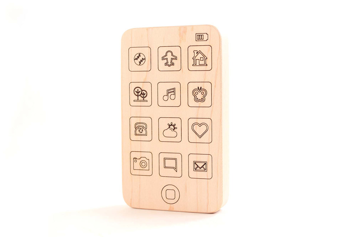 cell phone wooden baby toy teether