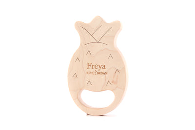personalized pineapple wood teether toy