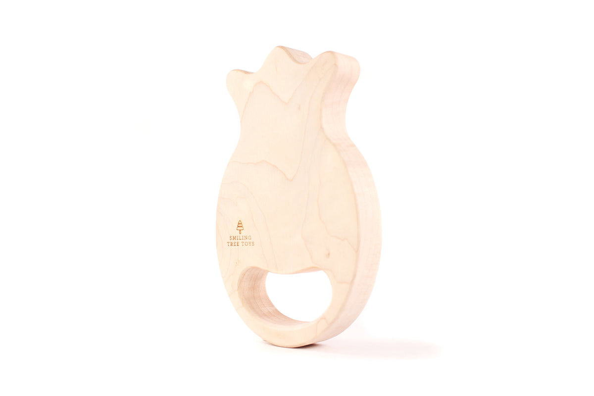 natural and safe wooden teether toy for baby