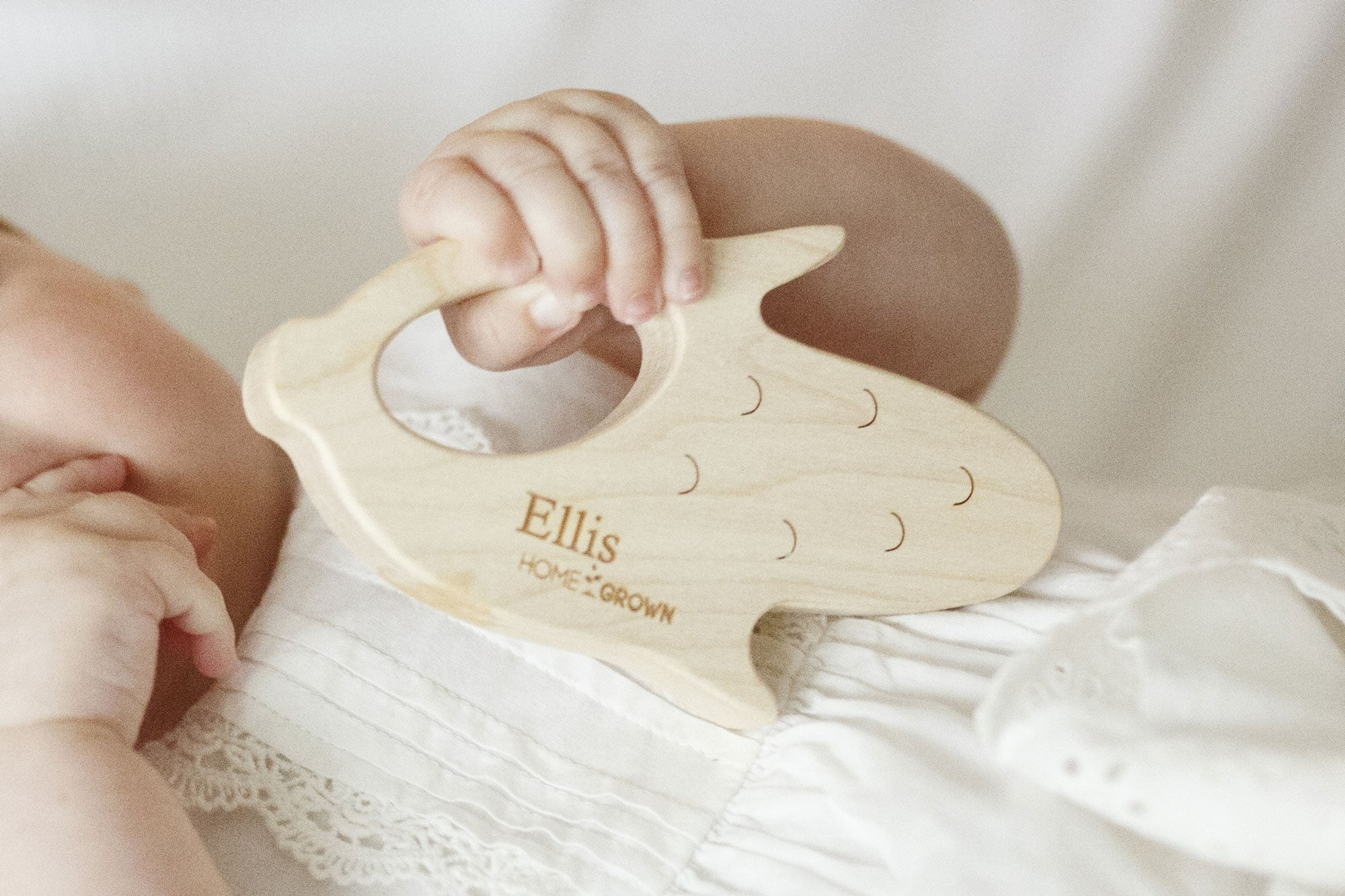 "corn cob personalized ""home grown"" wooden teether"