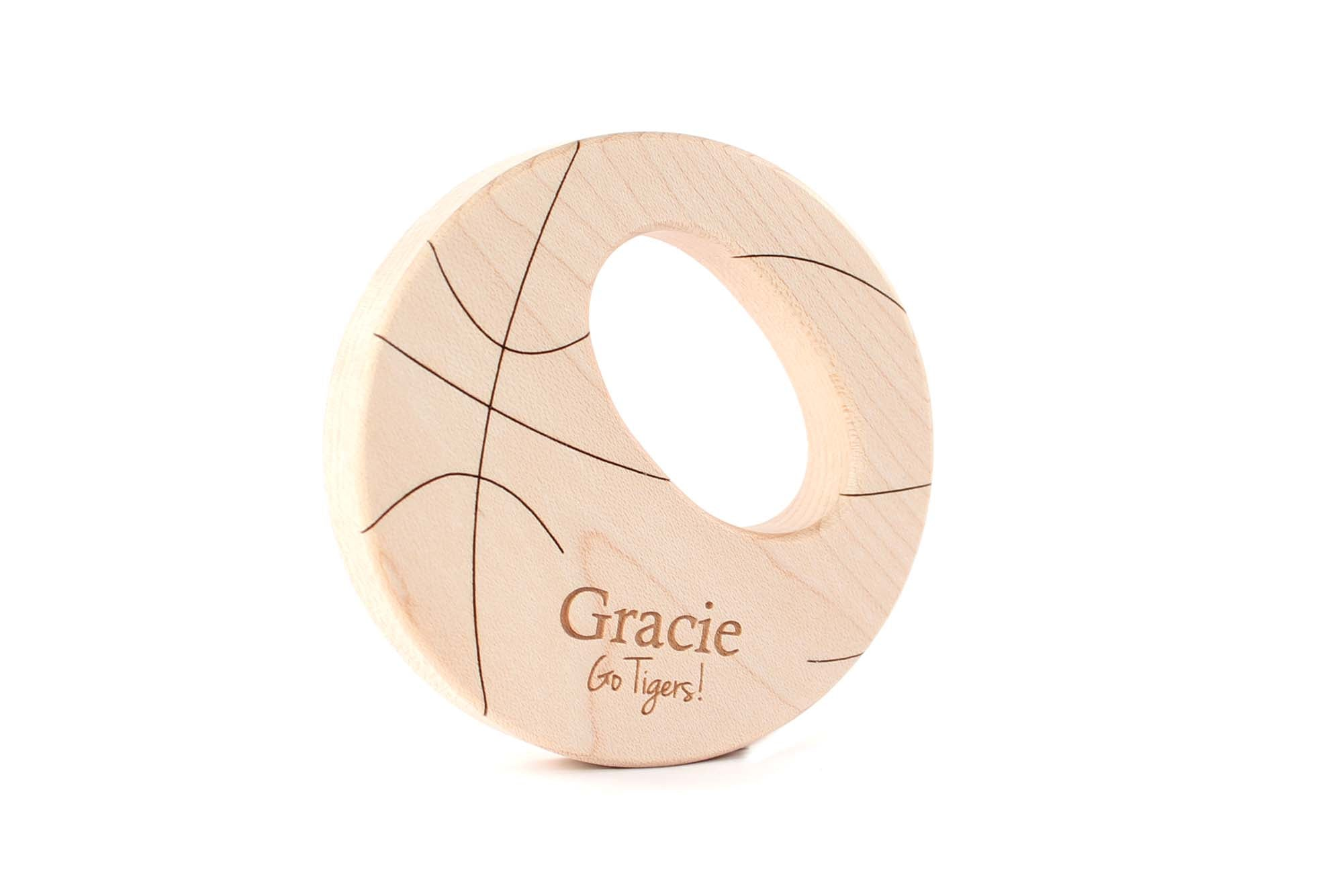 personalized basketball wooden baby teether toy