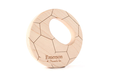 personalized wooden soccer ball teether toy