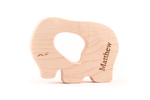 personalized elephant wood teether