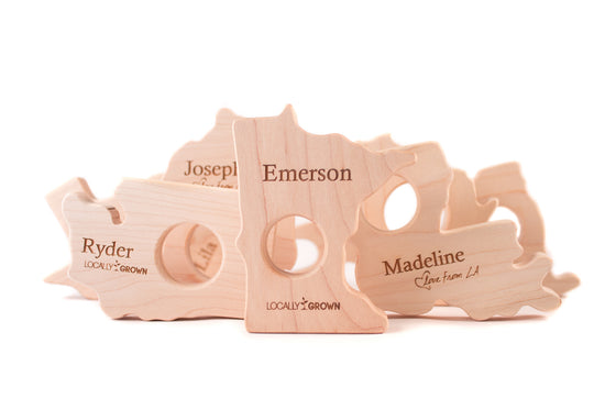 personalized wooden US state teething toys