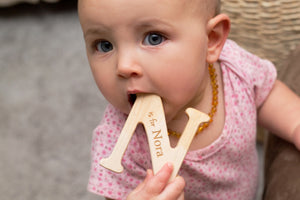 custom wooden alphabet letter teething toy