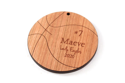 personalized basketball wooden Christmas ornament for players and teams