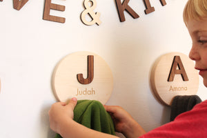 childrens wooden coat hooks with letters