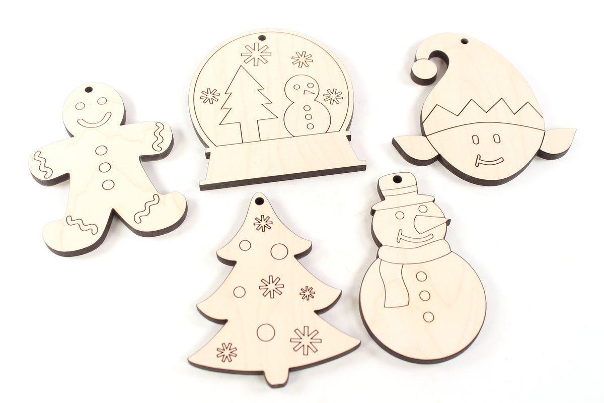 unfinished paintable wooden Christmas ornaments for kids