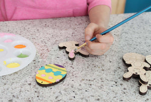 DIY wooden easter egg and bunny ornaments