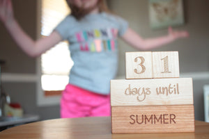 wooden countdown blocks for kids summer vacation and christmas