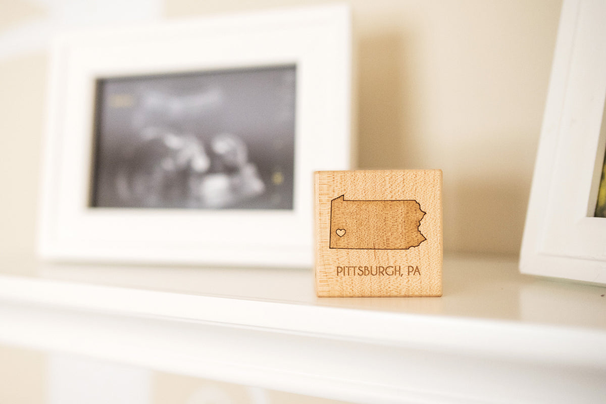 engraved wooden baby boy birth block