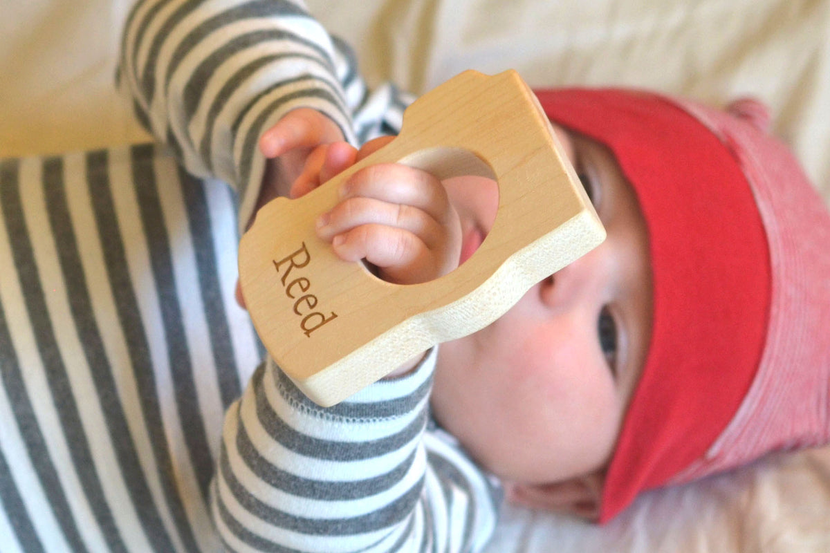 personalized custom camera wooden teething toy photographer gift