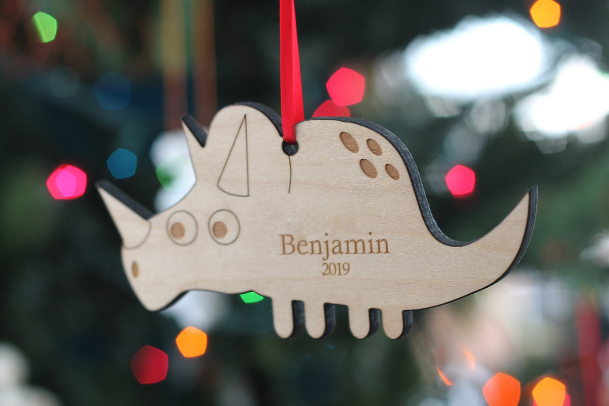 dinosaur personalized Christmas ornament for boys Smiling Tree Toys