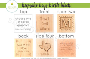 personalized new baby boy wooden block gift idea