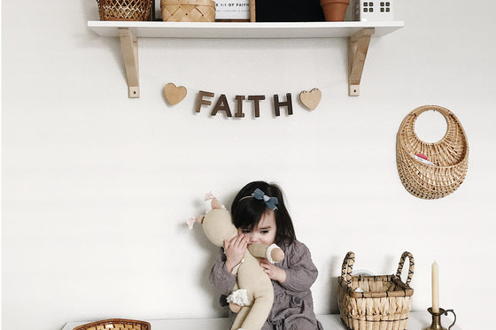 wooden name letters for child's room - personalized bunting