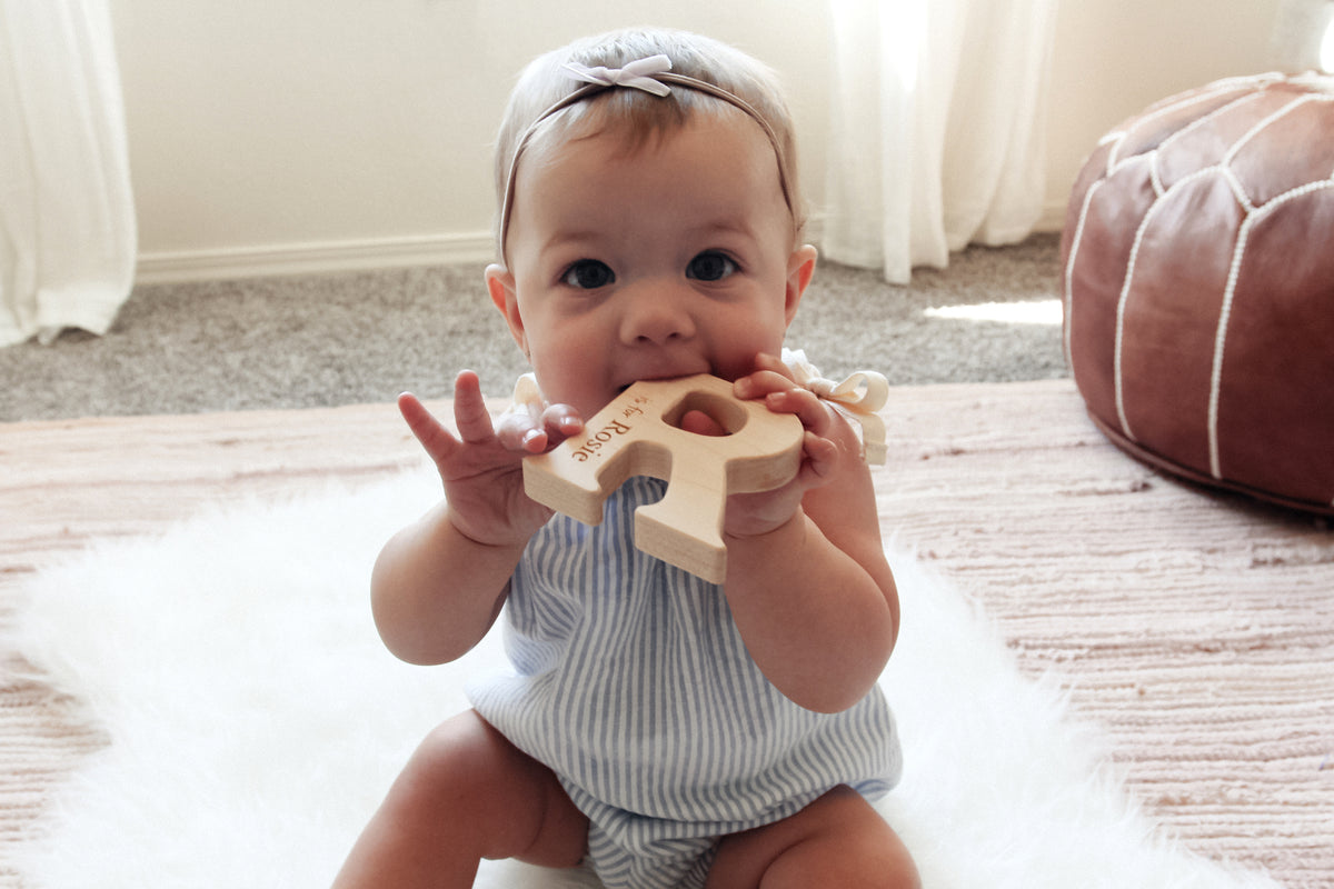 natural wooden baby teething toy