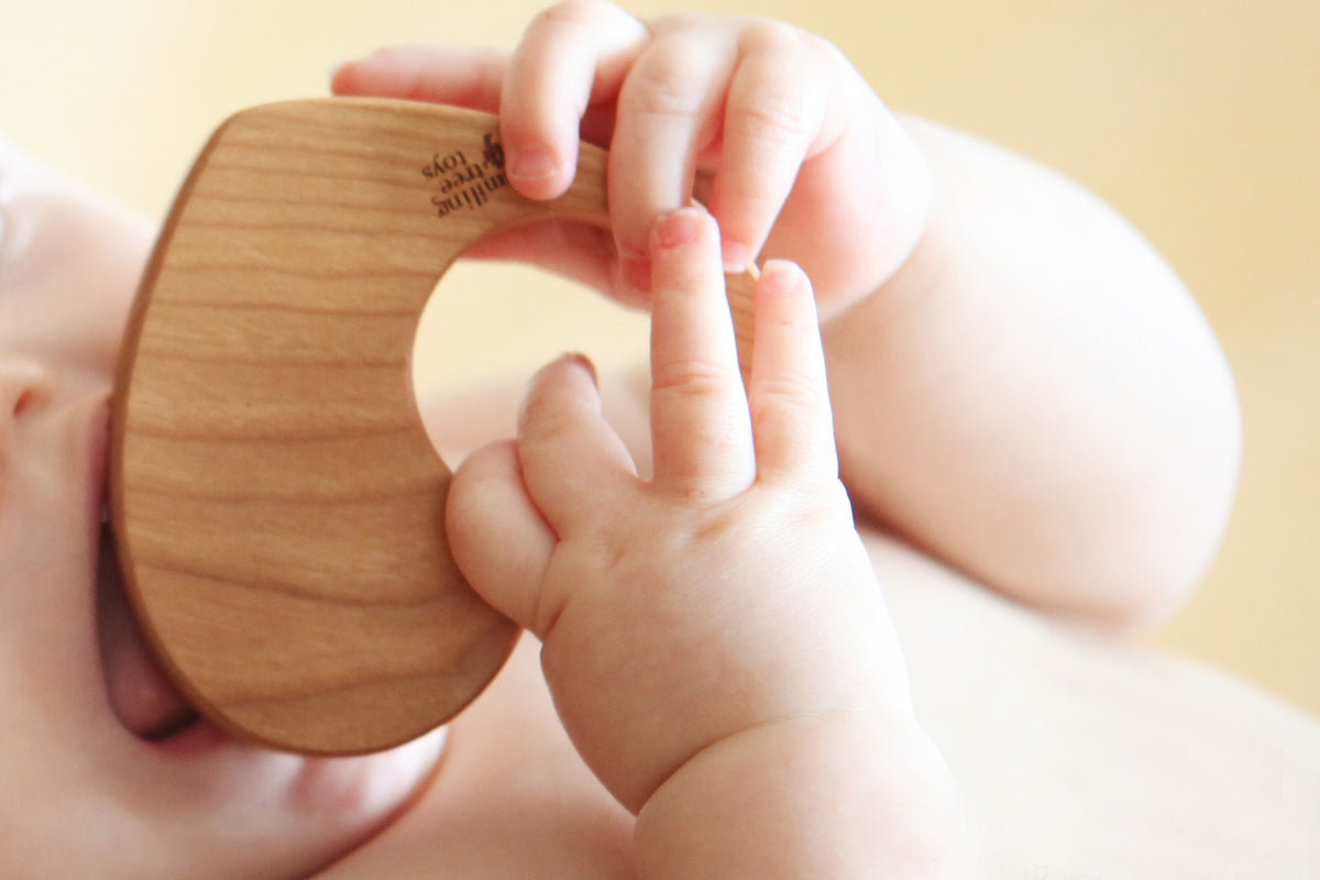 wooden natural personalized heart rattle toy