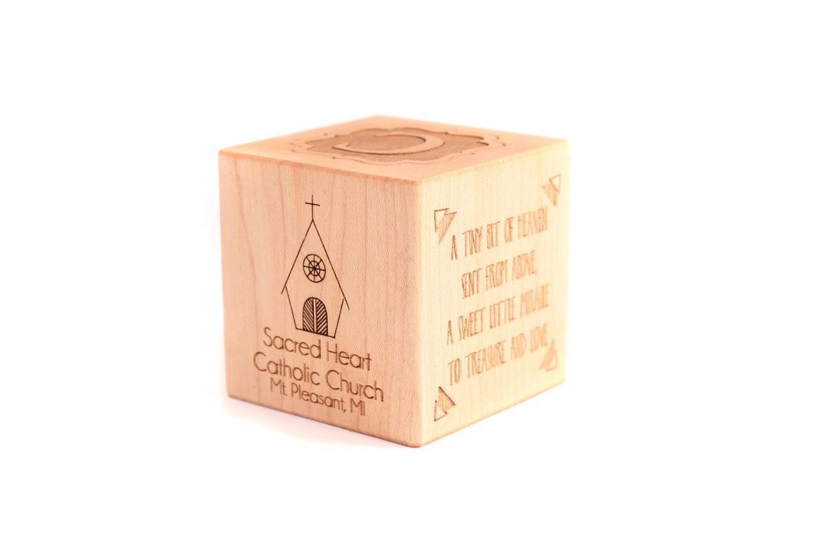 wooden baptism and christening block