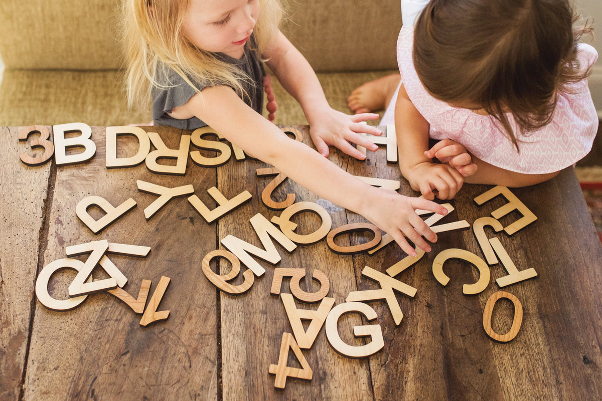 wooden alphabet letters and numbers montessori learning