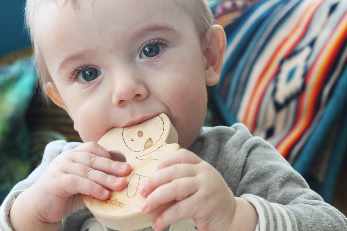 wooden sloth baby teething toy handmade in the USA