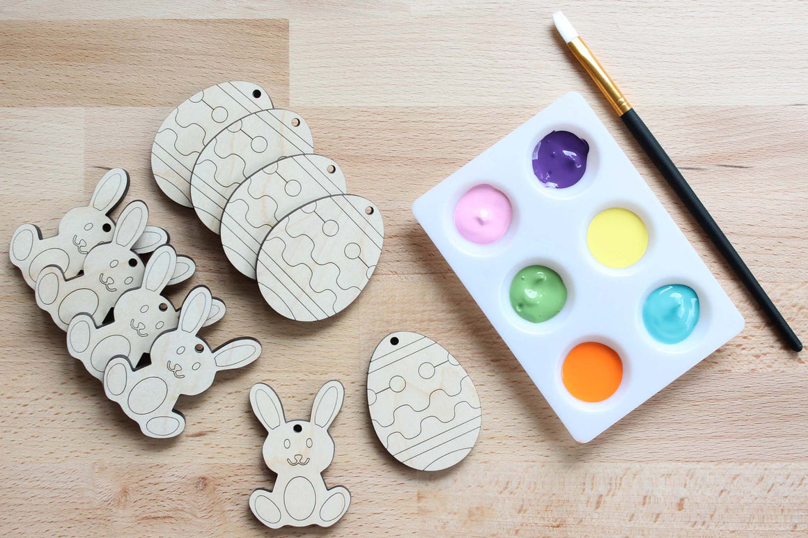 paint your own wooden easter eggs and bunny ornaments